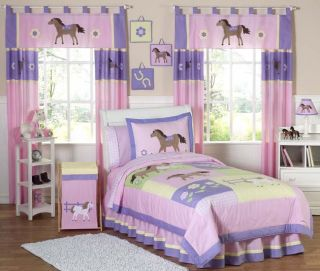 New Pink Horse Pony Girl Twin Kid Childrens Bedding Set