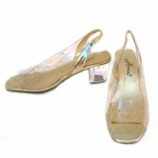 Vintage Lucy Mod Gold Lucite Dress Heels 7 Clear Illusion Plastic