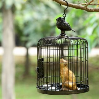 Black Bird Cage Cat Hanging Outdoor Garden Candle Holder Bird House