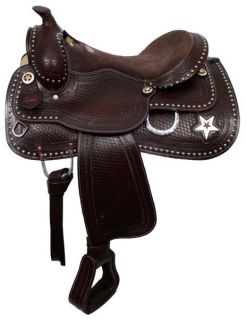 16 Western Pleasure Horse Saddle New by Double T in Dark Oil w Silver