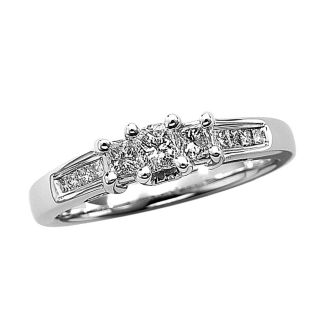 Diamond Ring 0 50 Ct TW Princess Cut 14k White Gold Size 6