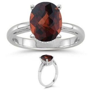 38 Cts Garnet Solitaire Ring in 18K White Gold 9.0 Jewelry
