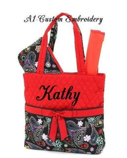 Personalized 3pc Diaper Bag Quilted Black Red Multi Colors Great Price