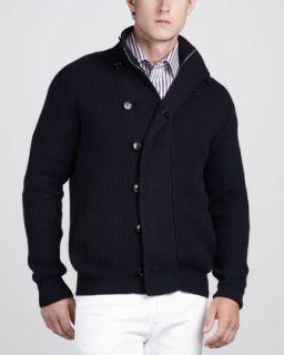 41KE Ermenegildo Zegna Ribbed Cashmere Blend Cardigan & Multi Stripe