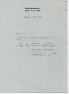 Helen Hayes Original Signed Letter to Joan Crawford