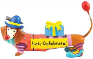 NEW Hot Diggity DACHSHUND Dog Figurine BIRTHDAY CLOWN Cake Topper
