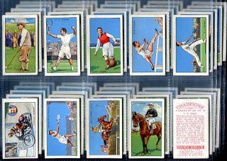 Tobacco Card Set Gallaher Champions Sport Golf Cricket etc 1st Series