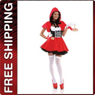 4P Little Red Riding Hood Dress Cape Gloves Basket Halloween Costume