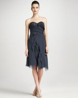 Lace Detail Wrap Dress, Slate Blue