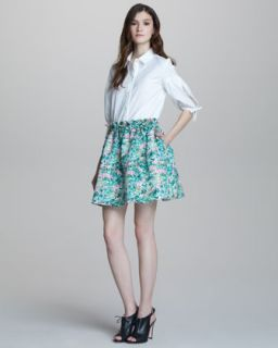 RED Valentino Short Sleeve Blouse & A Line Floral Print Skirt   Neiman