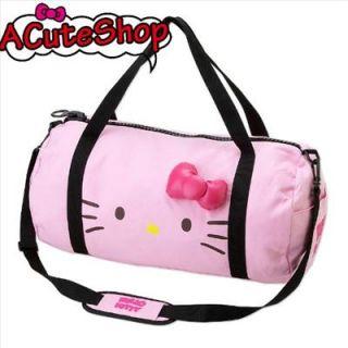 Helo Kitty Overnight Shoulder Bag Cotton Ribbon Pink Sanrio