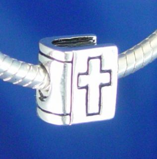 BIBLE HOLY CROSS CHRISTIAN JESUS LOVE Silver European Charm Bead fit