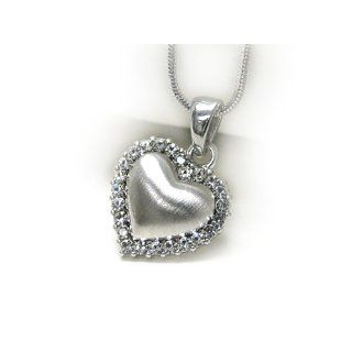 White Gold Plating Puffy Heart with Crystal Pendant