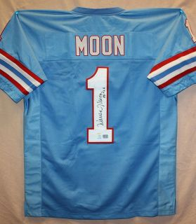Warren Moon Autographed Houston Oilers Blue Jersey Authenticated by