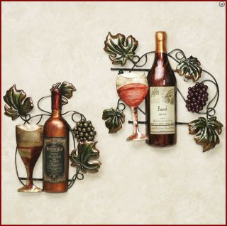 Red White Wine Bottle Vine Grapes Wall Art Decor