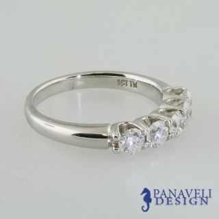 25 Ct Round Cut Diamond 5 Stone Anniversary Band 18K White Gold