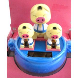 Solar Power Car Interior Decor Swing Doll Pig Family
