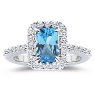 45 Cts Diamond & 3.24 Cts Swiss Blue Topaz Ring in 18K White Gold 5