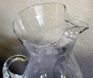 Princess House Heritage Crystal Etched Glass Pitcher Large 10 Tall 72