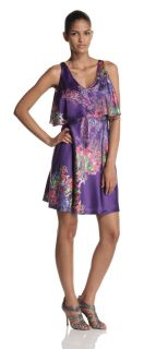 Halston Heritage Dress Womens Tiered Floral Print Silk Purple Coral 4