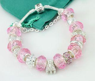 Hermosa Pink Crystal Diamond Charms Silver Bracelet 8