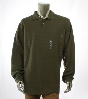 VAN HEUSEN NEW Green Mens Casual Shirt Jacquard Striped Polo Top Size