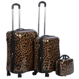 Heys USA Metallic Leopard 3 piece Hardside Spinner Luggage Set