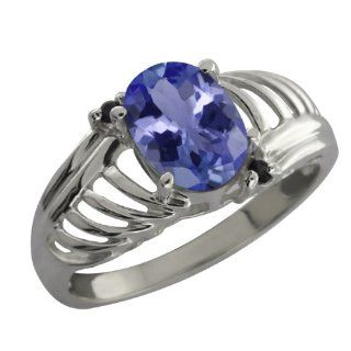 1.20 Ct Oval Blue Tanzanite Black Diamond Sterling Silver