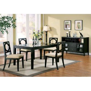 Black Dining chair with microfiber seat (set of 2