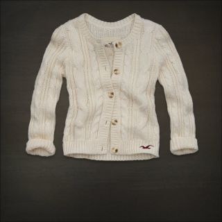 Hollister Women Cream Cable Knit Sweater Cardigan Top Marina Park