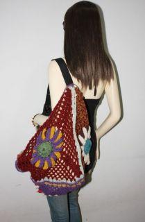 Hippie Boho CROCHET Shoulder Bag Purse Tote HANDMADE