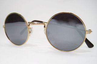 Round John Glasses Hippie Sunglasses 60s Mirrored Gold