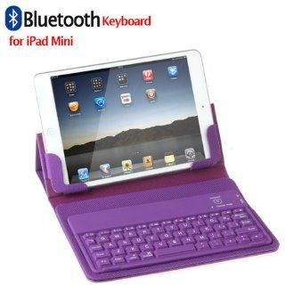 Purple Lined Leather Protective Case Bluetooth Keyboard