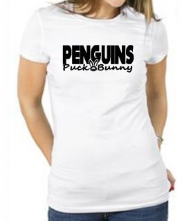 Penguins Puck Bunny Hockey Shirt Pittsburgh Girl Lady Female Fan