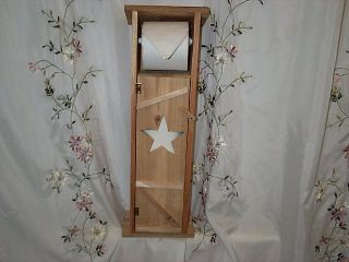 Handmade Cedar Wood Outhouse Toilet Tissue Paper Holder Star