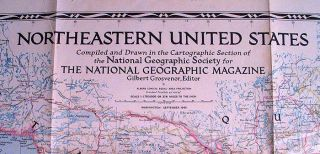 This is an original 1945 National Geographic Map of Northeastern