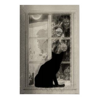 Vintage Fortune Telling Game Poster, Black Cat