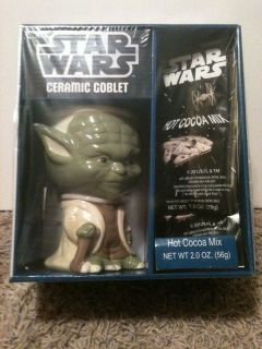 New Star Wars Yoda Ceramic Goblet Mug Glass Cup Hot Cocoa Mix Gift Set