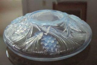 LARGE GLASS ART DECO OPALESCENT BOWL SABINO ERA SIGNED MINT