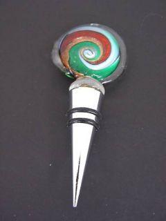 Home Essentials Art Glass Wine Stopper Bottle Stopper Swirl Design