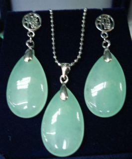 Fashion Set Jewelry Green Jade Pendant Earring Necklace Chain