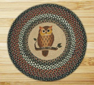 Country Owl Jute Braided Cabin Home Rustic Round Throw Rug 27