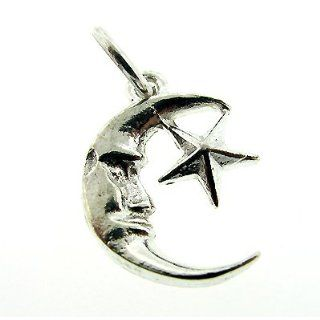 925 Authentic Sterling Silver Charm Half Moon and Star Jewelry