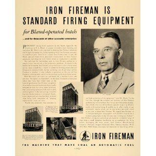 1936 Ad Iron Fireman Coal Automatic Fuel T L Bland Ore