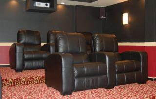 Home Theater Movie Chair Seating Reclining Black and Brown Leather
