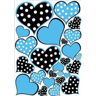 Blue and Black Polka Dot Heart Wall Decals Stickers Baby