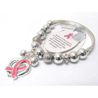 Beautiful Pink Ribbon and Heart Charm Stretch Bangle Bracelet Silver