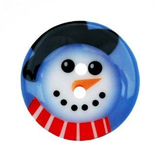 Plastic Christmas Themed Button Snowman With Hat And Scarf
