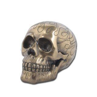 Mini 4 Bronzelike Flame Skull Skeleton Statue Figurine