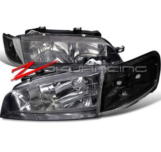 94 97 Honda Accord JDM Black Head Lights Corner Signal